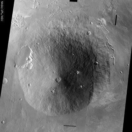 Mars Odyssey spacecraft image of the martian volcano Hecate Tholus