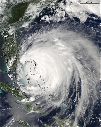 Aqua satellite MODIS instrument image of Hurricance Frances
