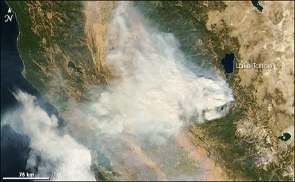 Aqua satellite MODIS instrument image of California wildfires