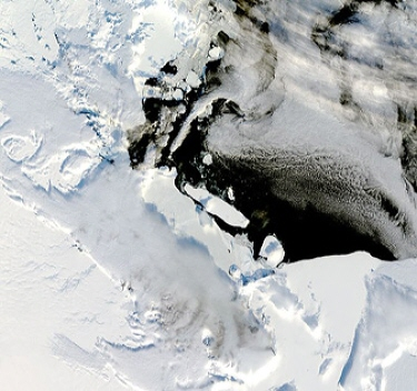 Terra satellite MODIS instrument image of icebergs in Antarica's Ross Sea