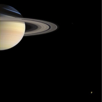 Cassini spacecraft image of Saturn and Titan