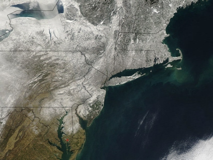 Aqua satellite MODIS instrument image of northeastern U.S. snowcover