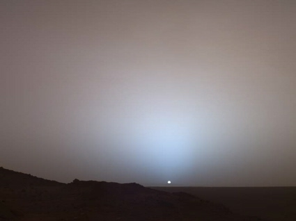 Mars Exploration Rover Spirit image of a martian sunset