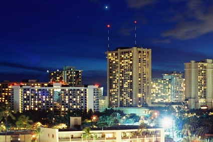 Planet Venus above Hawaii's Waikiki skyline