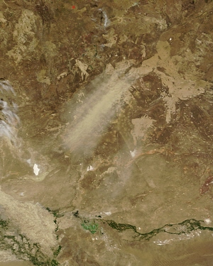 Terra satellite MODIS instrument image of Kazakhstan dust