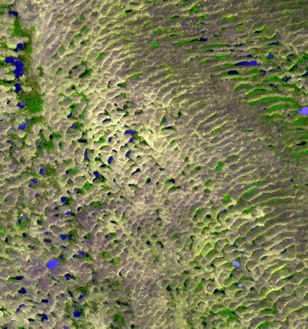 Terra spacecraft ASTER instrument image of Nebraska sand dunes