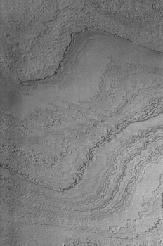 Mars Odyssey spacecraft THEMIS image of layered martian terrain