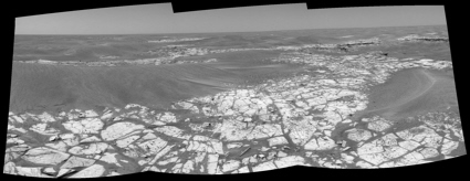 View towards Victoria Crater from the Opportunity Mars Exploration Rover