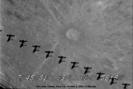 Image of an International Space Station (ISS) lunar transit