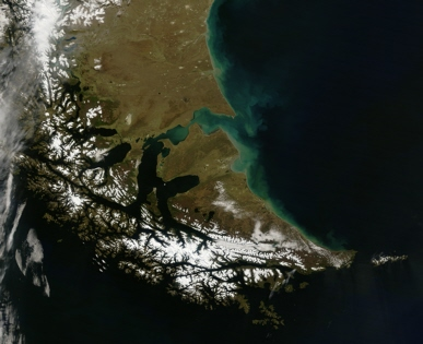 Satellite image of Tierra del Fuego, Argentina, and Chile
