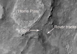 The Spirit Mars rover as seen by the Mars Reconnaissance Orbiter