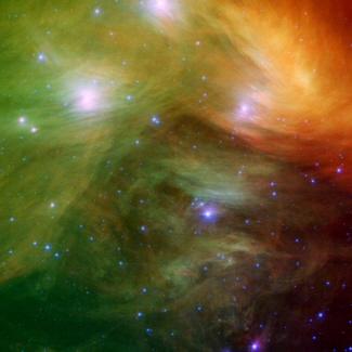 Spitzer Space Telescope infrared image of the Pleiades star cluster