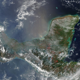 Aqua satellite image of fires in Mexico and Central America