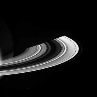Image of Saturn's rings and moons Mimas, Janus, Pandora, and Prometheus