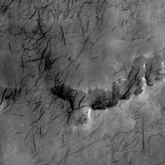 Mars Odyssey spacecraft image of martian dust devil tracks