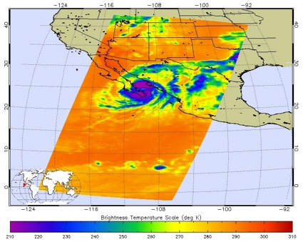 Aqua spacecraft infrared image of Hurricane Henriette