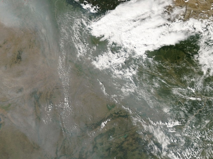 Aqua spacecraft image of haze over India