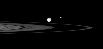 Cassini spacecraft image of rings and moons Mimas and Epimetheus.