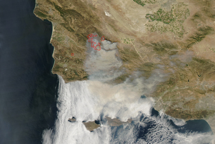 Aqua spacecraft image of La Brea fire