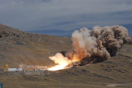 Aries rocket motor test firing