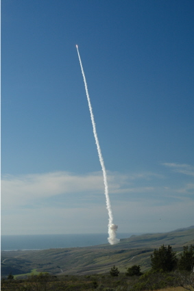 Ground-based Interceptor (GBI) lifts-off form Vandenberg AFB
