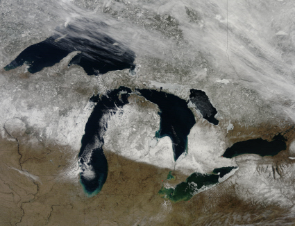 Terra spacecraft image of the Great Lakes