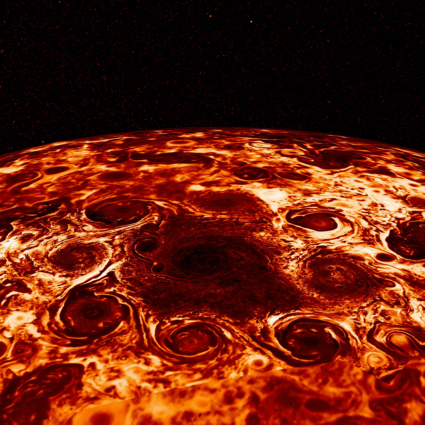 Infrared image of Jupiter's north pole