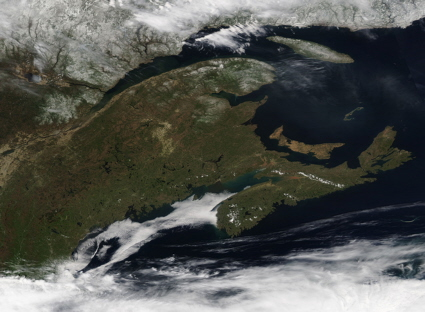 Aqua satellite image of New England and Canada