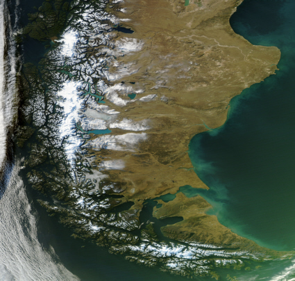 Aqua satellite image of Patagonia