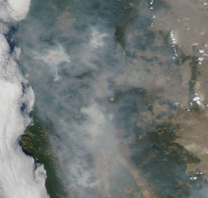 Aqua satellite image of california fires
