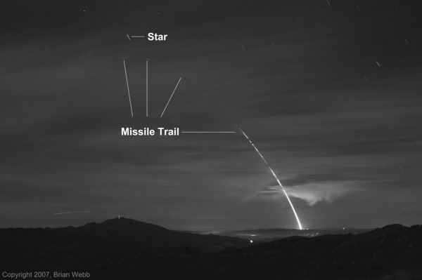 Annotated Minuteman III missile / Glory Trip 193GM launch image