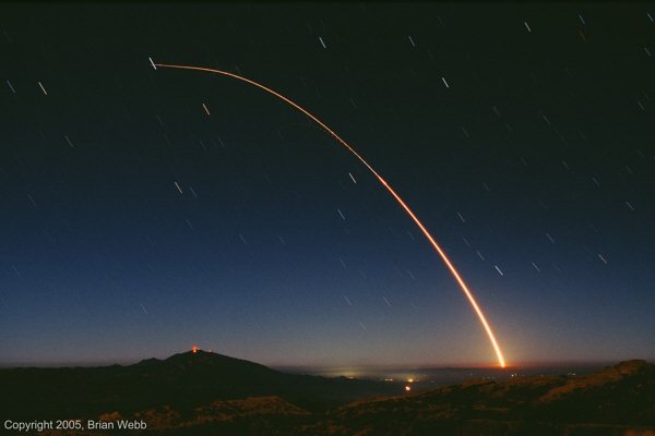 Time exposure of a Minuteman III missile launch